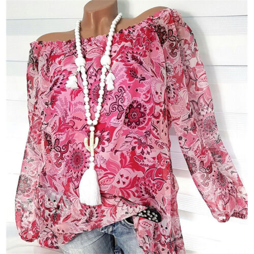 Plus Size Women Boho Off Shoulder Baggy Top Bardot Casual Loose Tee Shirt Blouse