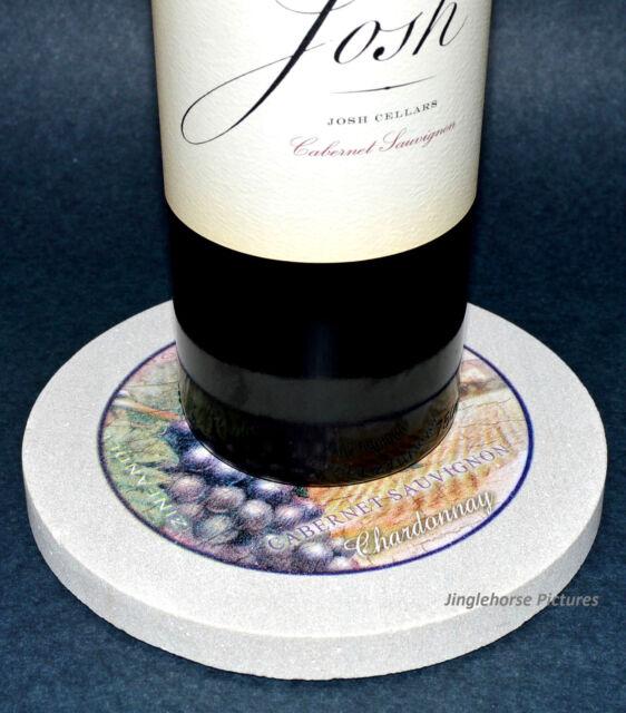 "THIRSTYSTONE Wine Bottle Coaster Holder 6"" Sandstone ABSORBING Hot & Cold Trivet"