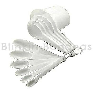 11 MEASURING CUP SPOON WHITE ASSORTED PLASTIC KITCHEN COOK COOKING BAKING SET 9B