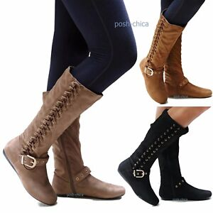 585876eb3 New Women Fr65 Tan Taupe Black Vegan Suede Lace Up Riding Mid-Calf ...