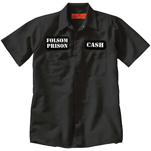 Cash Folsom Prison Button Up Work Shirt Punk Country Tattoo Johnny