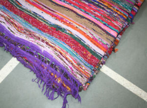 Kilim Colorful Chindi Indian Bohemian BohoBraided Decorative Rag Rug Dhurrie Rug