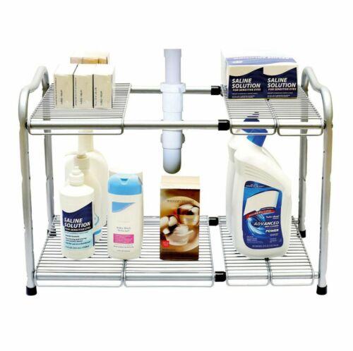 2 Étages Extensible multi usage cuisine sous évier organisateur étagère de rangement étagère