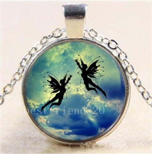 Moon fairies Photo Cabochon Glass Tibet Silver Chain Pendant Necklace