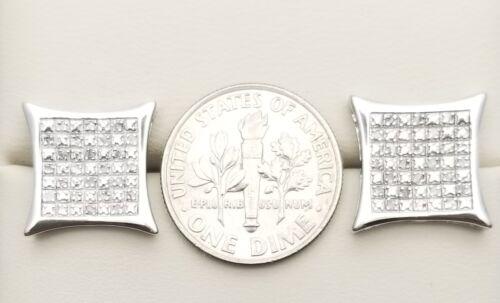 Solid 925 Sterling Silver Big Véritable Diamant Clous D/'Oreilles Or 14K Finition .5