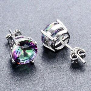 925-Silver-Round-Cut-Mystic-Rainbow-Fire-Topaz-Stud-Earrings-Jewelry
