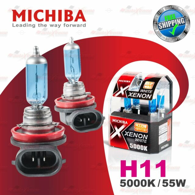 2x H11 12V 711 5000K WHITE MICHIBA Headlight Bulbs Globe Xenon Lamps 55W PGJ19-2