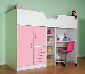 CABIN BED CHILDRENS SINGLE HIGH SLEEPER WHITE AND PINK ...