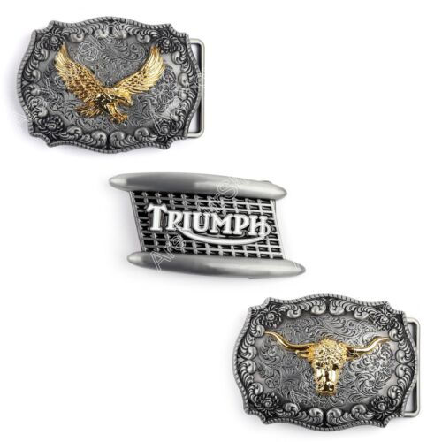 Men Vintage Belt Buckle Bull Eagle Head Logo Zinc Alloy Motorcycle Belt Buckle