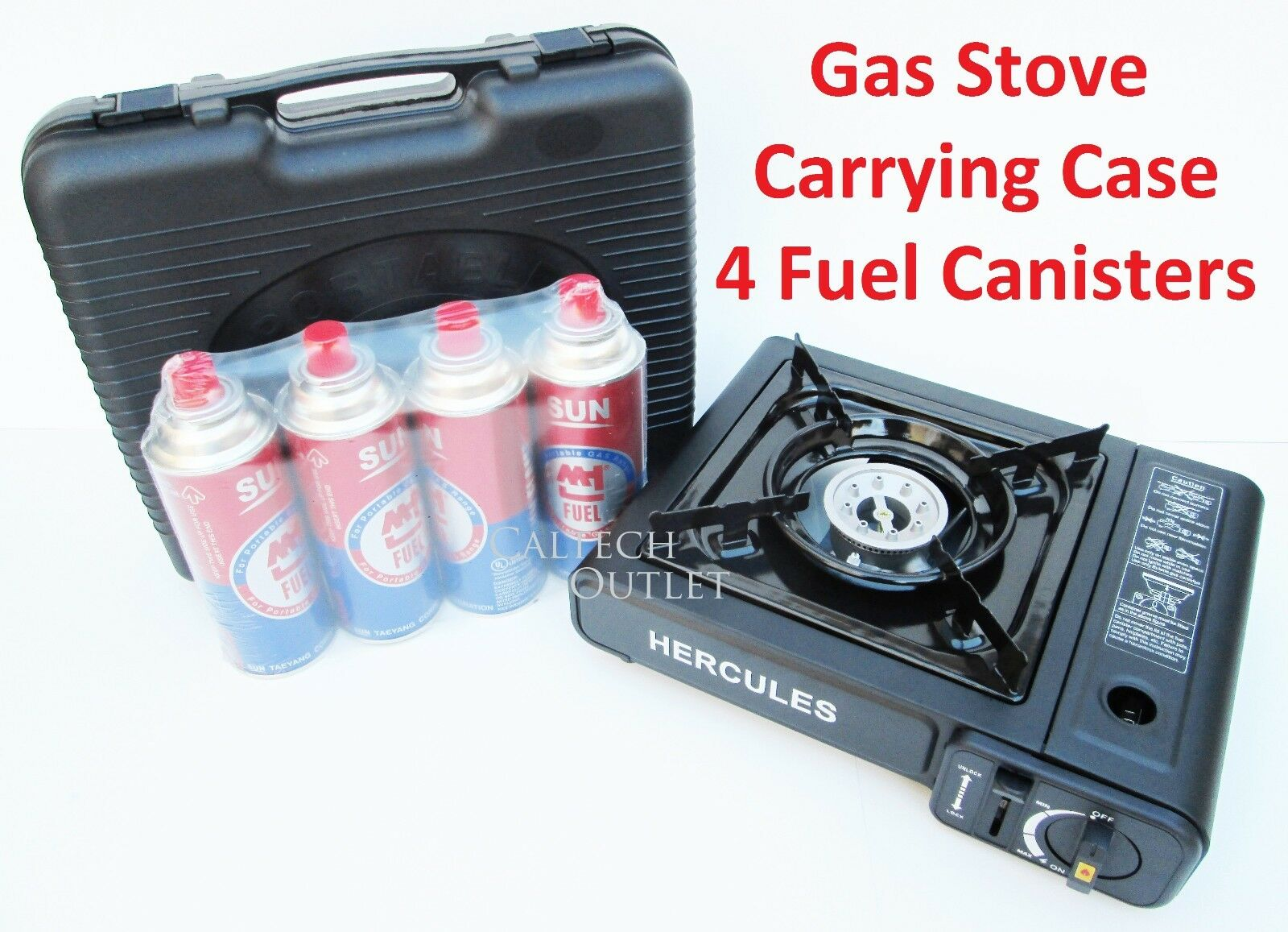Portable Butane Gas Stove Burner w  Hard Carrying Case & 4 Butane Fuel Canisters