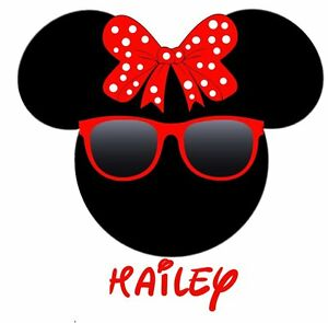 ****DISNEY MINNIE MOUSE SUNGLASSES**PERSONALIZE**FABRIC//T-SHIRT IRON ON TRANSFER