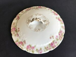 Antique-Limoges-France-LID-W-Handle-For-Covered-Serving-Bowl-Floral-Pink-Roses