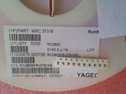 61,9 kOhm NEU 125 mW RC0805FR-0761K9L 1/% 10 x Dickfilmwiderstand