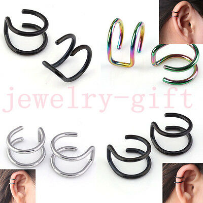 Pair Stainless Steel Double Closure Fake Cartilage Ear Cuff Wrap Clip On Earring