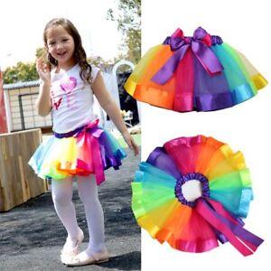 Baby-Girl-Toddler-Rainbow-Princess-Party-Dancewear-Tulle-Tutu-Skirt-Dresses