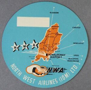 NORTH-WEST-AIRLINES-IOM-VINTAGE-ORIGINAL-AIRLINE-LUGGAGE-LABEL-ISLE-OF-MAN-NWA
