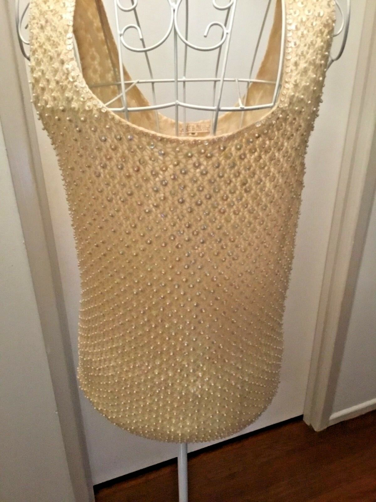 CREAM VINTAGE RETRO BEADED SEQUINS KNIT TOP damen CLOTHING , ALL OVER SEQUINS