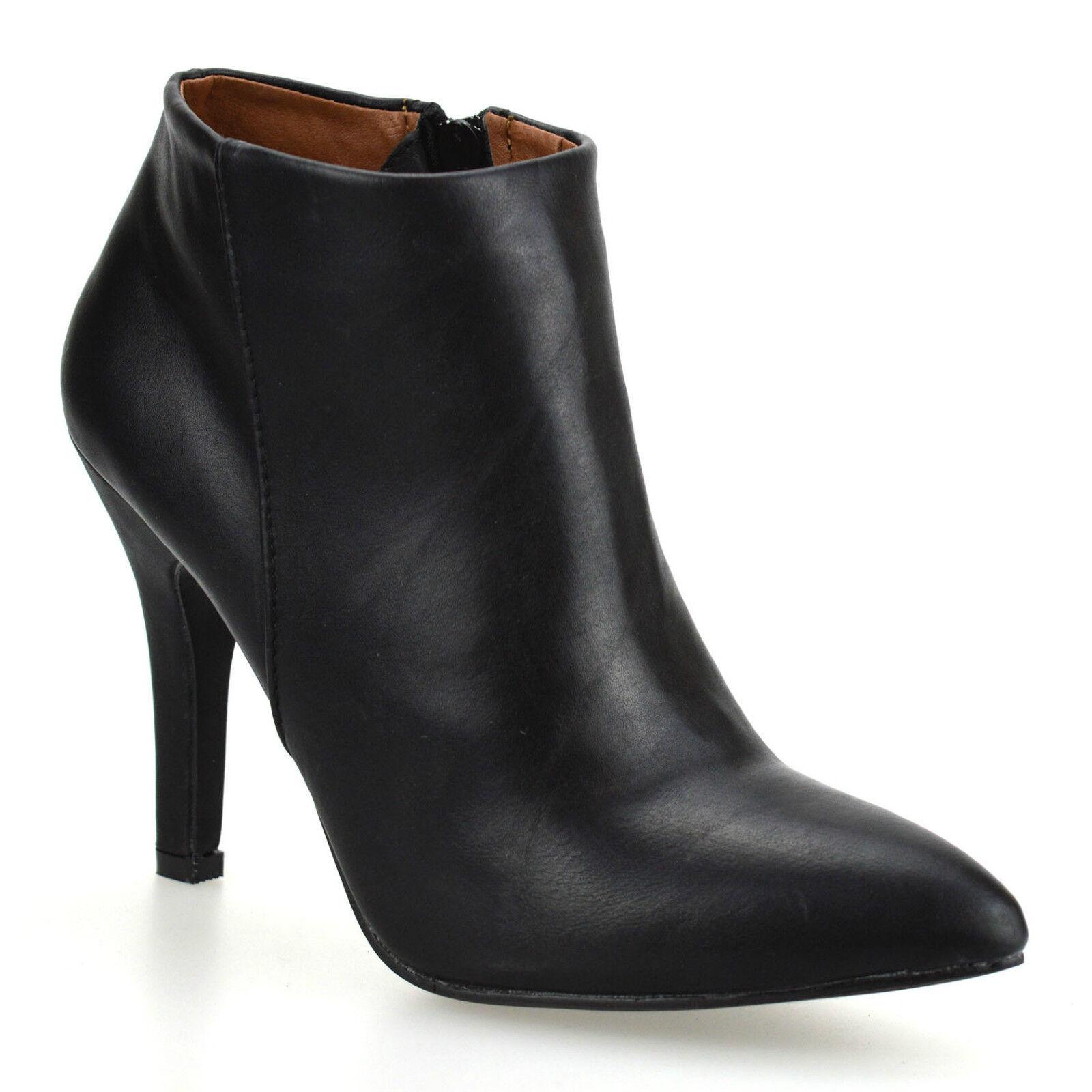 Ladies Womens New High Heel Zip Up Chelsea Booties Ankle Biker Boots Shoes Size
