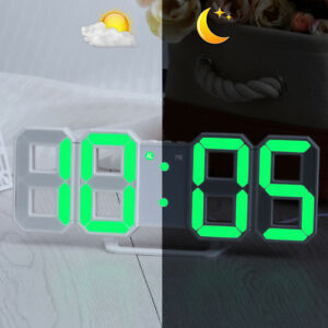 UK LED Digit Table Wall Clock Large 3D Display Alarm Clock