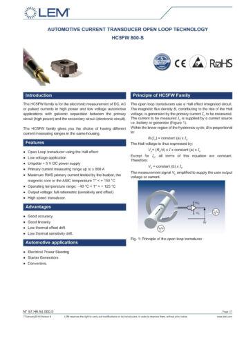 3 x LEM HC5FW 800-S Hall-Effect Wandler Stromwandler 800A NOS