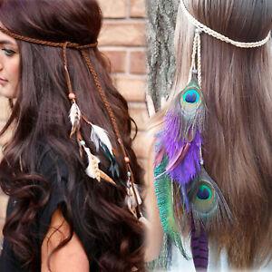 Retro-Beige-Brown-Peacock-Feather-Braided-Headband-Headdress-Hair-Accessories