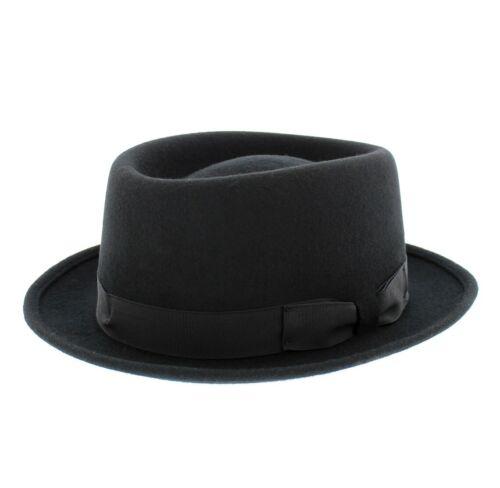 Failsworth Mens 100/% Wool Pork Pie Hat In Black Or Grey
