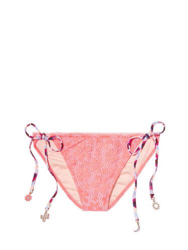 Victoria Secret The Teeny Bikini Bottom Coral Daisy Lace W// Charms Large NWT *T