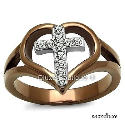WOMEN'S CHOCOLATE STAINLESS STEEL AAA CZ HOLY CROSS HEART FASHION RING SIZE 5-10