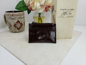 Brighton-Dark-Red-Patent-Leather-Slim-Small-Coin-Wallet-Shiny-Heart-Window