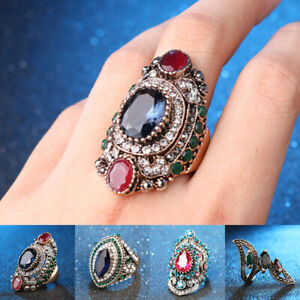 Women-Vintage-Retro-Ethnic-Big-Rhinestone-Crystal-Royal-Ring-Fashion-Jewelry