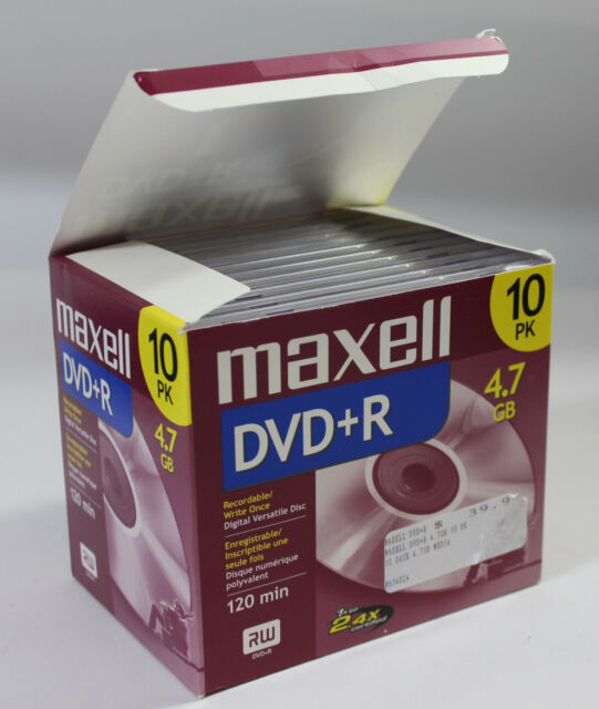 Maxell DVD+R Discs, 4.7GB, Standard Jewel Case, 10 Count (4 NEW)