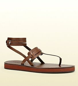 1a1456775 New Gucci Mens Leather Ankle Strap Thong Sandal Dark Brown 336454 ...