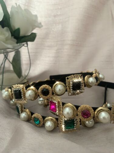 Womens Pearl Jewel Embellished Crystal Crown Hairband Headband Fuchsia