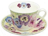 Roy Kirkham Fine English Bone China Breakfast Tea Cup & Saucer Set  PANSY