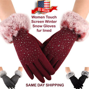 Women-Touch-Screen-Winter-Snow-Gloves-Windproof-Warm-Sparkle-front-fur-lined