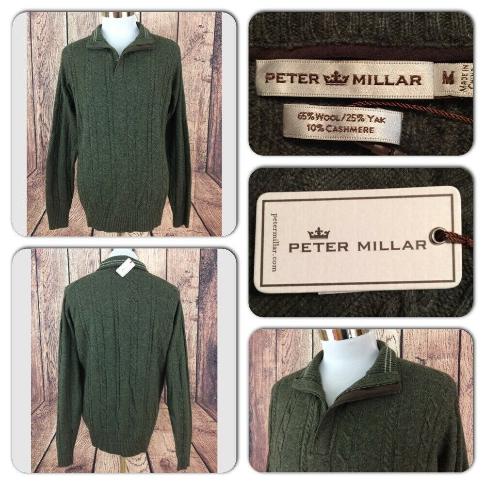 NWT PETER MILLAR MENS M WOOL YAK CASHMERE CABLE KNIT LUXURY 1 4 ZIP SWEATER