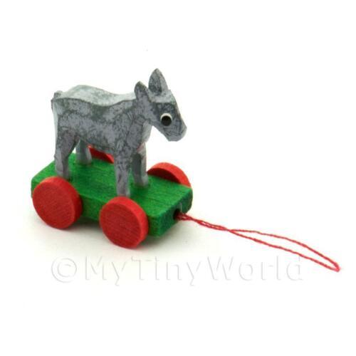 Dolls House Miniature Small Pull-along Donkey