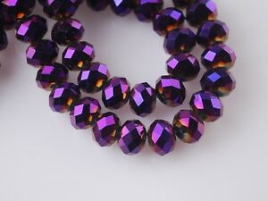 200pcs-3x4mm-Faceted-Rondelle-Loose-Spacer-Crystal-Glass-Beads-Purple-Plated