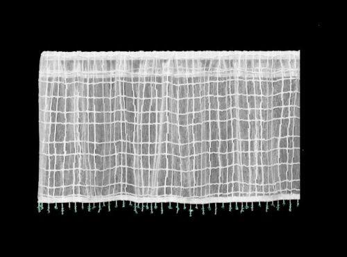 "Heritage Lace White SEACOAST Window Valance with Aqua Sea Glass Trim 45/""Wx15/""L"