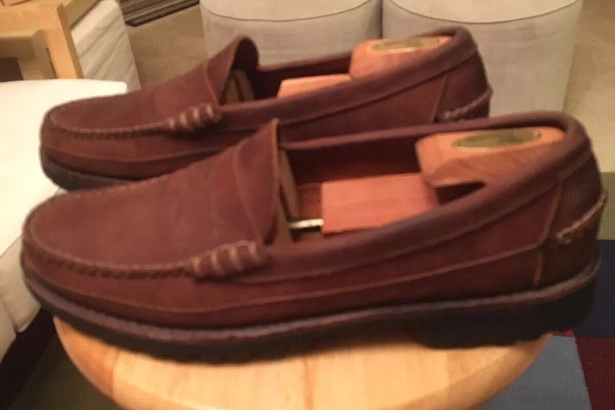 Allen Edmonds SEQUOIA Brown Men's US11.5B Suede Leather Penny Loafer shoes