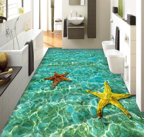 3D ColGoldt Starfish 4 Floor WallPaper Murals Wall Print 5D AJ WALLPAPER UK Lemon