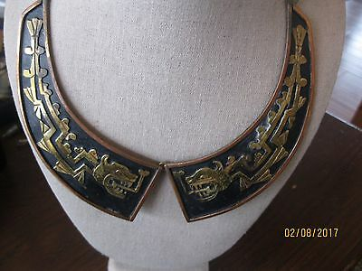MEXICO COPPER & BRASS CHINESE FENGSHUI DRAGON FISH CHOKER NECKLACE VINTAGE RARE!