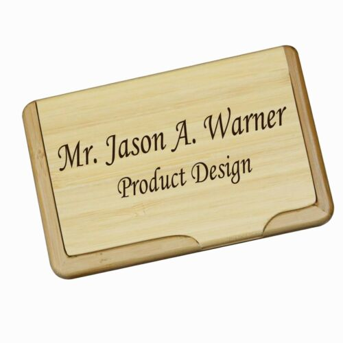 Personalized wood bamboo business card holder custom office gift personalized wood bamboo business card holder custom office gift for menwomen colourmoves