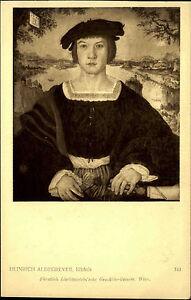 Kuenstlerkarte-J-Loewy-Wien-1907-Bildnis-Mann-nach-Gemaelde-Heinrich-Aldegrever