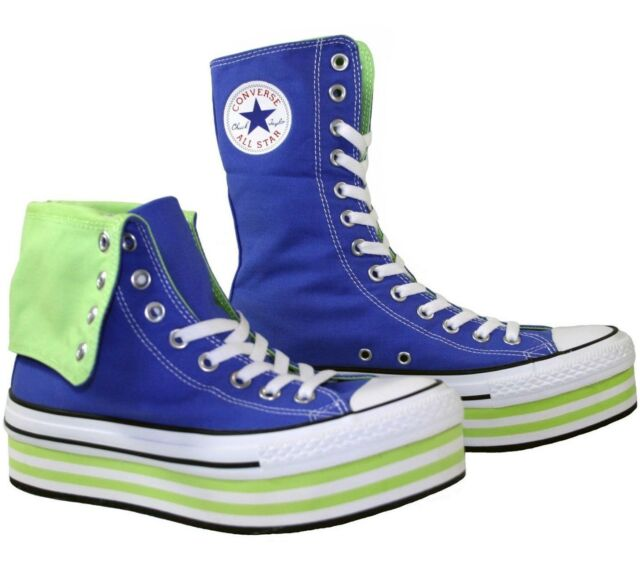 Men s Women s CONVERSE All Star PLATFORM XHI TOP Blue Green Trainers SIZE  ... 8aa2c4236