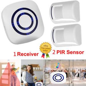 Wireless-Doorbell-Driveway-Security-Alert-Alarm-Gate-Entry-2-Chime-Motion-Sensor