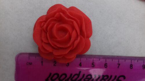 8 Large Rose Rouge Fleurs comestibles Cake Topper