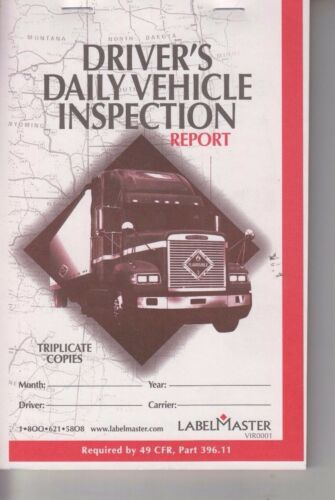Label Master Driver/'s Daily Vehicle Inspection Report Triplicate Carbon VIR0001