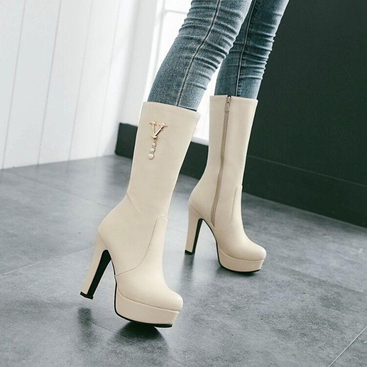 Elegant Women's High Heel Pumps Round Toe Platform Zip Mid Calf Boots Plus Size