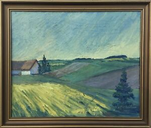 Nordic-Landscape-Rapeseed-Field-with-Farmhouse-Signed-63-x-53-mid-Century